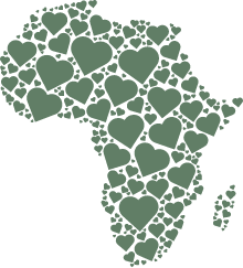 African continent made of hearts